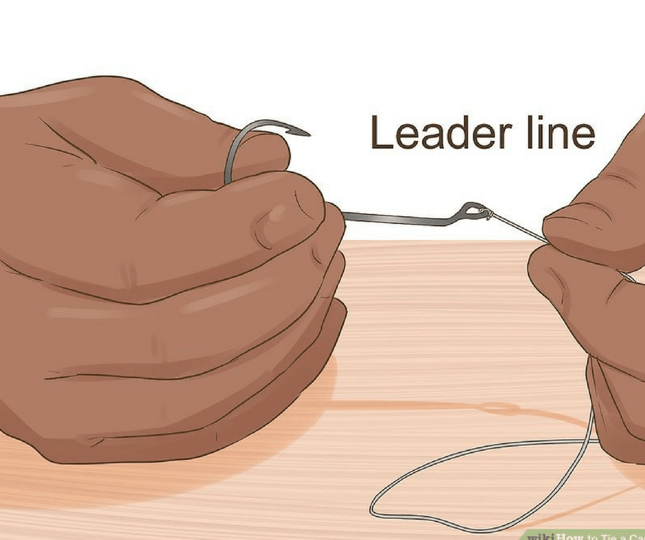 Tying the leader line with the hook