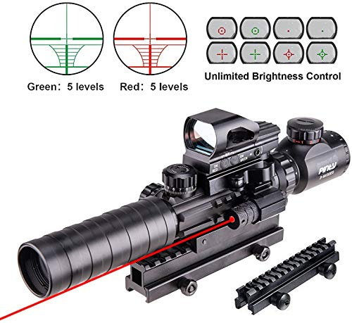 Pinty Rifle Scope 3-9x32 Rangefinder Illuminated Reflex Sight 4