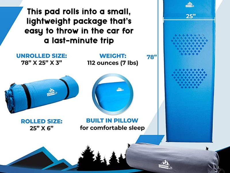 Outdoorsman Lab Self Inflating Sleeping Pad for Camping with 3-inch Thickness